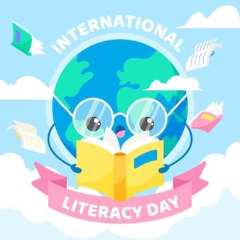 Giornata internazionale dell'alfabetizzazione con libro di lettura della terra