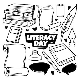 Giornata internazionale dell'alfabetizzazione disegnata a mano