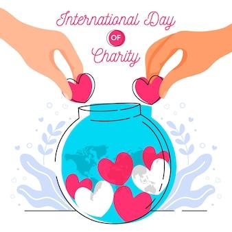 Giornata internazionale della beneficenza sfondo disegnato a mano con cuori