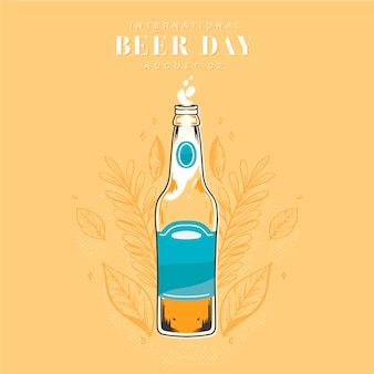 Giornata internazionale della birra con birra e bottiglia
