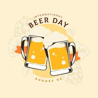 Giornata internazionale della birra con pinte schiumose