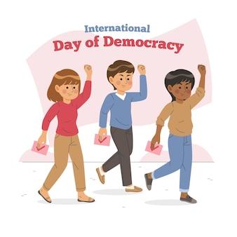 Giornata internazionale della democrazia con personaggi