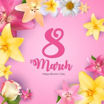 Giornata internazionale della donna felice 8 marzo biglietto di auguri floreale