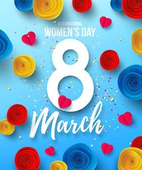 Giornata internazionale della donna felice, 8 marzo vacanze poster o banner con fiori di carta festa della mamma felice modello di progettazione alla moda per l'8 marzo. festa della donna