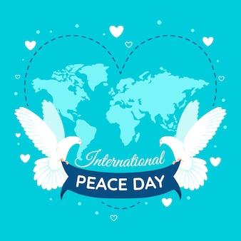 Giornata internazionale della pace con mappa e colombe