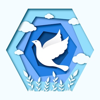 Giornata internazionale della pace sullo sfondo in stile carta