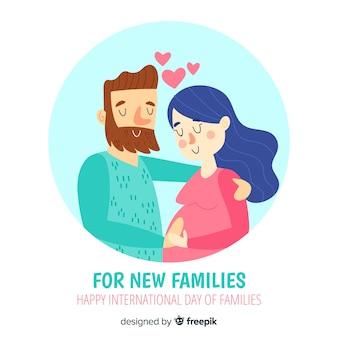 Giornata internazionale delle coppie disegnate a mano del fondo delle famiglie
