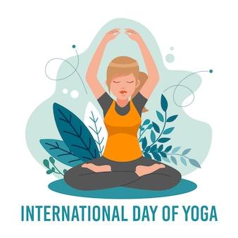 Giornata internazionale dello yoga con donna e foglie
