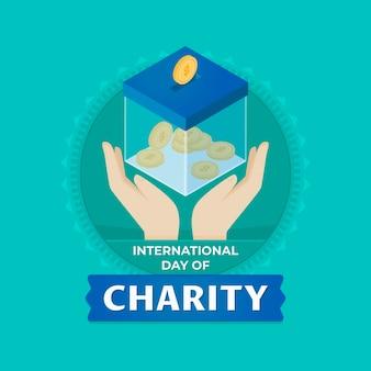 Giornata internazionale di design piatto di evento di beneficenza
