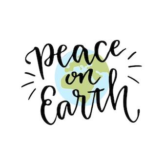 Giornata internazionale di pace. calligrafia lettering a mano con frase ispiratrice. vector illustrazione disegnata a mano testo pace sulla terra