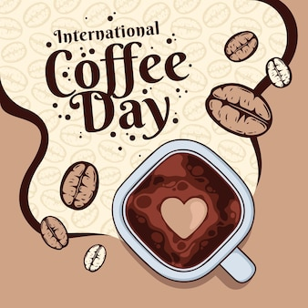 Giornata internazionale disegnata a mano dell'illustrazione del caffè
