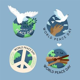Giornata internazionale disegnata a mano di badge di pace