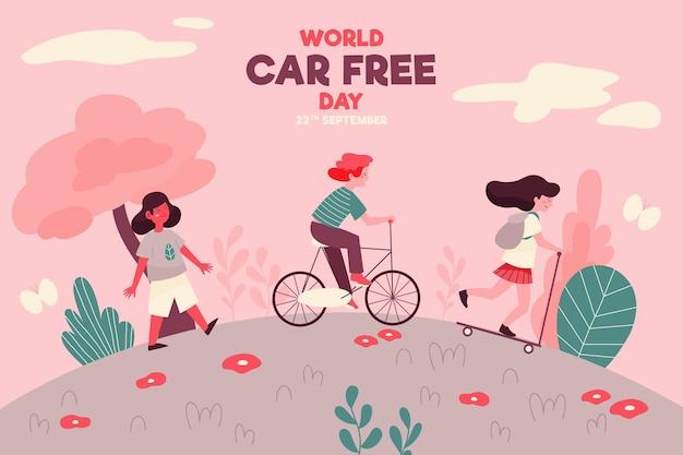 Giornata libera auto mondo disegnato a mano