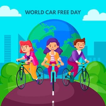 Giornata libera di auto del mondo piatto
