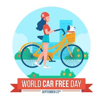 Giornata libera di auto mondiale con donna in bicicletta