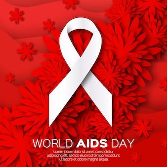 Giornata mondiale contro l'aids su fondo rosso di origami. consapevolezza.