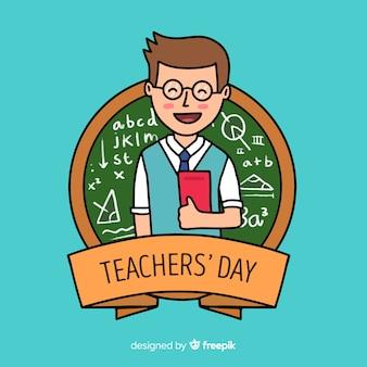 Giornata mondiale degli insegnanti disegnata a mano con i libri della tenuta dell'uomo