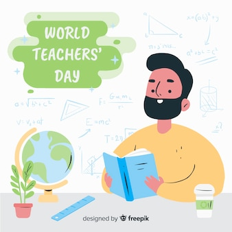 Giornata mondiale degli insegnanti disegnata a mano