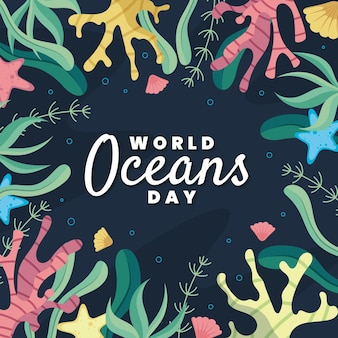 Giornata mondiale degli oceani con coralli e vegetazione