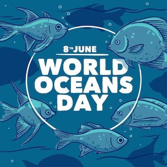 Giornata mondiale degli oceani disegnata a mano