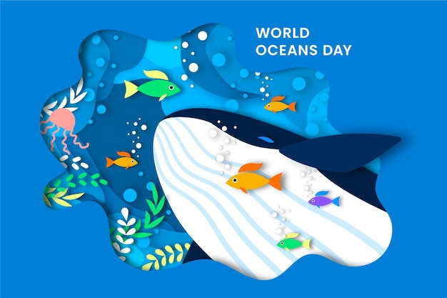 Giornata mondiale degli oceani in stile carta