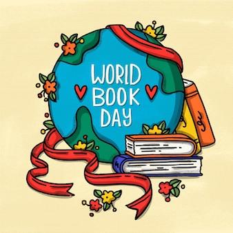 Giornata mondiale del libro con il globo