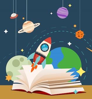 Giornata mondiale del libro nel tema dello spazio
