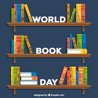 Giornata mondiale del libro sullo sfondo in stile piatto