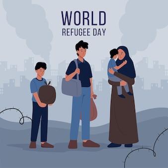 Giornata mondiale del rifugiato con persone
