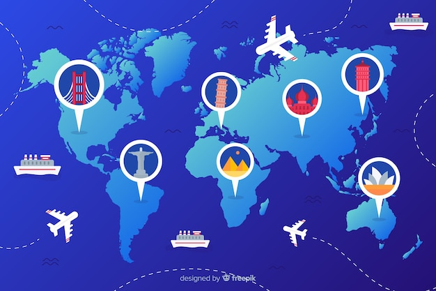 Giornata mondiale del turismo gradiente con punti di riferimento e trasporti