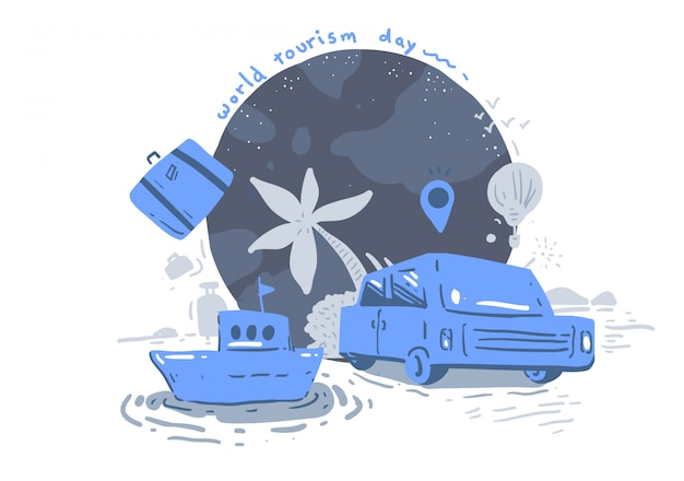 Giornata mondiale del turismo in stile cartone animato. giornata mondiale del turismo