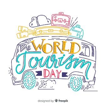 Giornata mondiale del turismo lettering minimalista