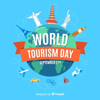 Giornata mondiale del turismo piatto con attrazioni turistiche