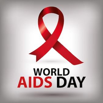 Giornata mondiale dell'aids con la bandiera della mano e del nastro