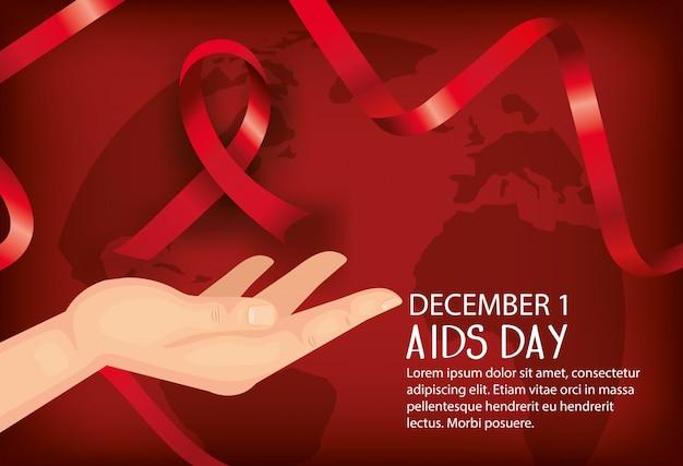 Giornata mondiale dell'aids con mano e nastri