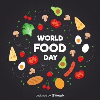 Giornata mondiale dell'alimentazione con alimenti dal design piatto