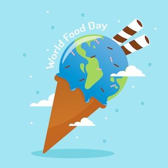 Giornata mondiale dell'alimentazione con forma del mondo nel vettore del bastone del wafer e del gelato
