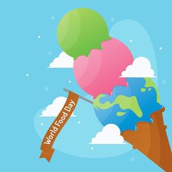Giornata mondiale dell'alimentazione con forma del mondo nel vettore di gelato