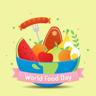 Giornata mondiale dell'alimentazione con vari alimenti e frutti vettoriale