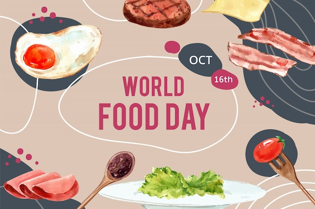 Giornata mondiale dell'alimentazione cornice con uovo fritto, pancetta, bistecca, prosciutto illustrazione ad acquerello.
