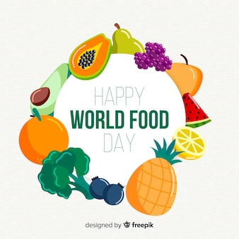 Giornata mondiale dell'alimentazione felice circondata da frutti