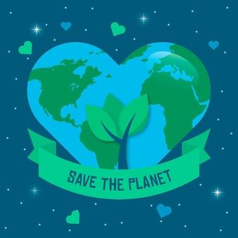 Giornata mondiale dell'ambiente con il pianeta a forma di cuore