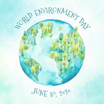 Giornata mondiale dell'ambiente dell'acquerello con terra e natura