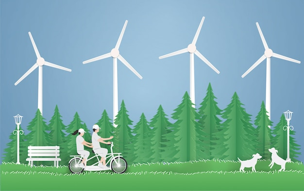 Giornata mondiale dell'ambiente ed eco earth day, coppia in sella a una bicicletta