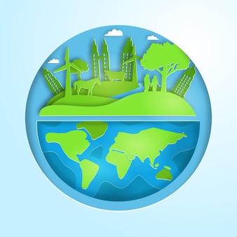 Giornata mondiale dell'ambiente in stile carta con il pianeta