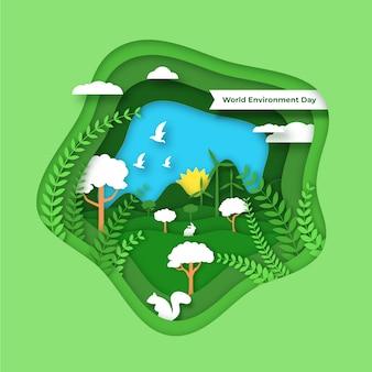Giornata mondiale dell'ambiente in stile carta con la natura