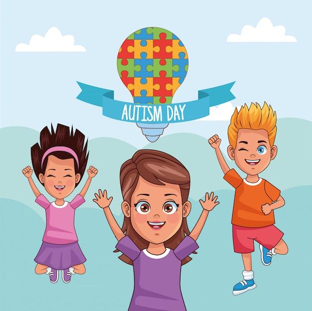 Giornata mondiale dell'autismo bambini con lampadina a puzzle