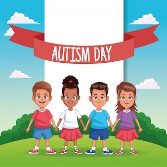 Giornata mondiale dell'autismo con bambini sul campo