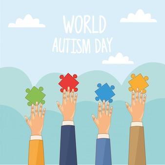 Giornata mondiale dell'autismo con le mani che giocano a puzzle