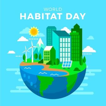 Giornata mondiale dell'habitat in design piatto